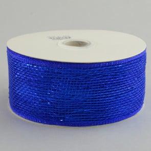 """2.5"""" Poly Deco Mesh Ribbon: Metallic Royal Blue"""