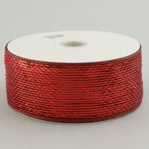 "2.5"" Poly Deco Mesh Ribbon: Metallic Burgundy"