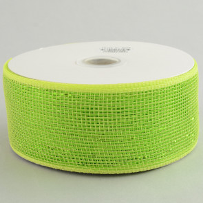 "2.5"" Poly Deco Mesh Ribbon: Metallic Apple Green"