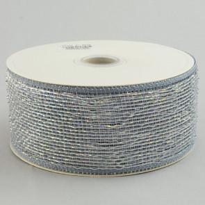 "2.5"" Poly Deco Mesh Ribbon: Metallic Platinum"