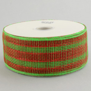 "2.5"" Poly Deco Mesh Ribbon: Metallic Red/Lime Plaid"