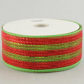 """2.5"""" Poly Deco Mesh Ribbon: Metallic Red/Lime Stripe"""