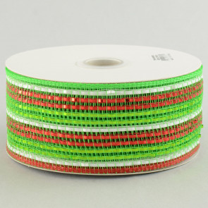 "2.5"" Poly Deco Mesh Ribbon: Metallic Wide Foil Red/Lime/White Stripe"