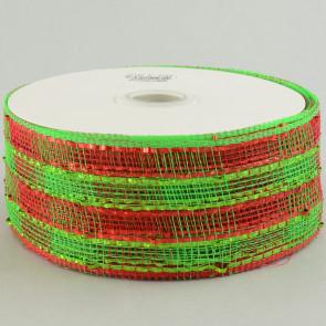 "2.5"" Poly Deco Mesh Ribbon: Metallic Wide Foil Lime/Red Plaid"