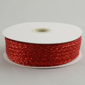 "1.5"" Deco Flex Mesh Ribbon: Metallic Red"