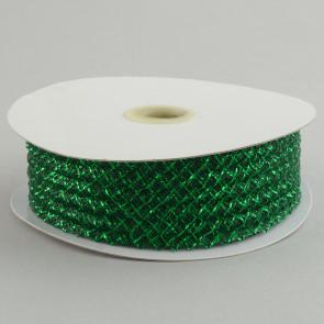 "1.5"" Deco Flex Mesh Ribbon: Metallic Emerald Green"