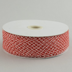 "1.5"" Deco Flex Mesh Ribbon: Red & White"
