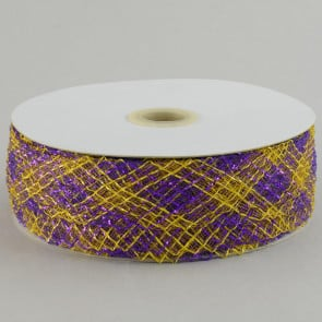 "1.5"" Deco Flex Mesh Ribbon: Purple/Gold Plaid"