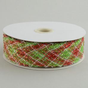 """1.5"""" Deco Flex Mesh Ribbon: Red/Lime/White Plaid"""