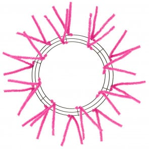 "15-24"" Tinsel Work Wreath Form: Hot Pink"