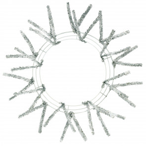 "15-24"" Tinsel Work Wreath Form: Metallic Silver"