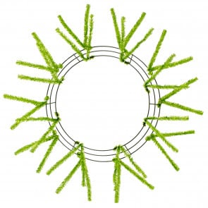 "15-24"" Tinsel Work Wreath Form: Metallic Lime Green"