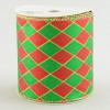 "4"" Harlequin Diamond Ribbon: Red & Emerald Green (10 Yards)"
