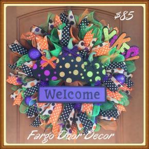 Polka Dot Halloween Welcome Wreath