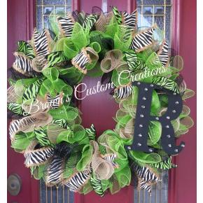 Zebra Print Deco Mesh Wreath