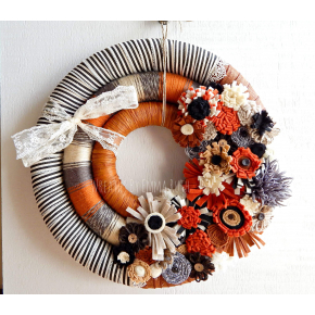 Funky Fall and Halloween Triple Wreath