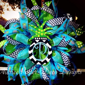 Chevron Pineapple Monogramed Deco Mesh Wreath With Matching Pineapple Ribbon