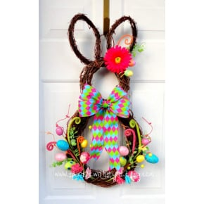 Whimsical Grapevine Easter Bunny Wreath