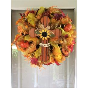 Fall Harvest Cross Mesh Wreath