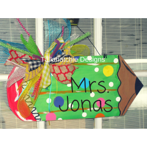 Back To School Wooden Teacher's Pencil Door Hanger