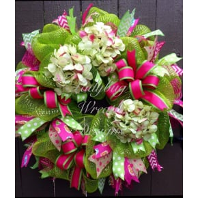Lime Green and Pink Hydrangeas