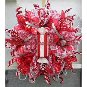 whimsical Peppermint Christmas Deco Mesh Wreath