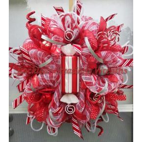 whimsical Peppermint Christmas Deco Mesh Wreath