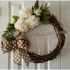 Grapevine Wreath with Peonies/Burlap