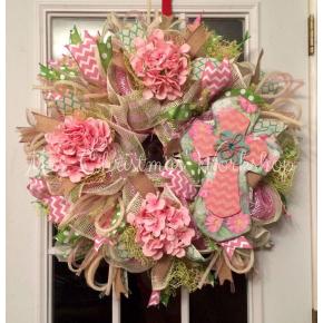 Pink cross wreath
